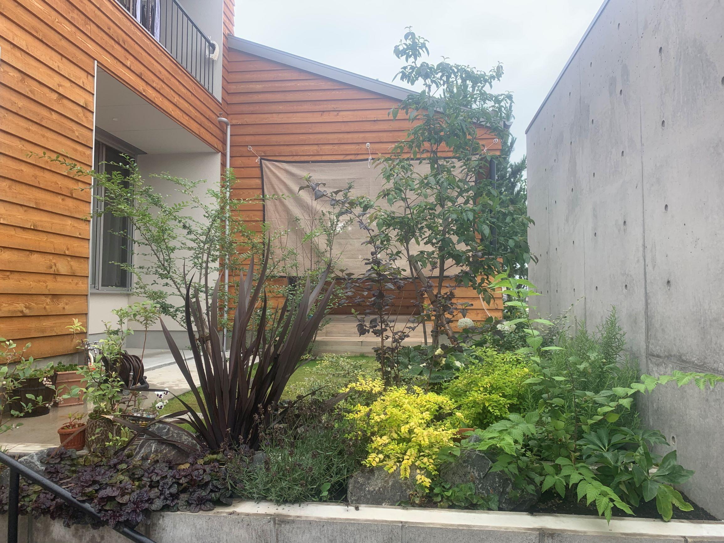 岡崎枕木菜園芝生の庭。芝生の庭を生かす緑化。のイメージ